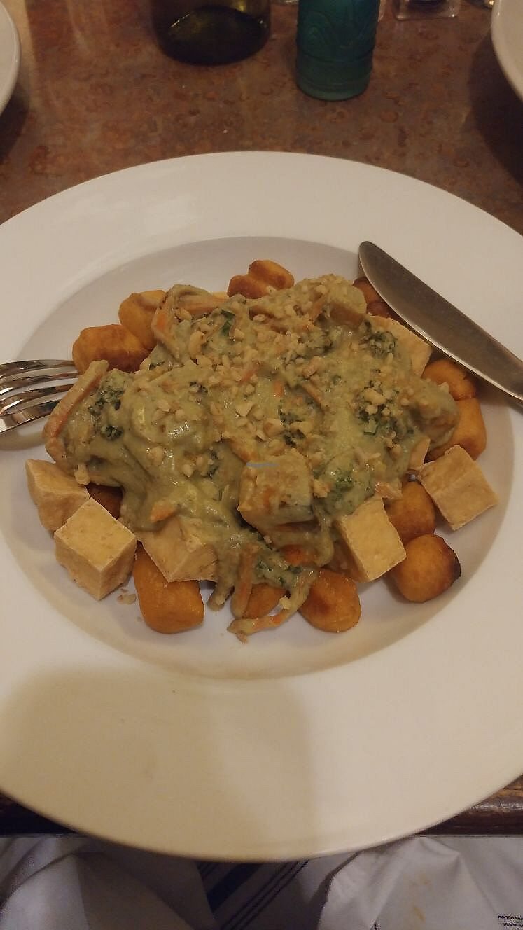 """Photo of Merge  by <a href=""""/members/profile/chapstick"""">chapstick</a> <br/>Gnocchi with tofu- gnocchi seemed deep fried? <br/> January 4, 2018  - <a href='/contact/abuse/image/16959/342767'>Report</a>"""