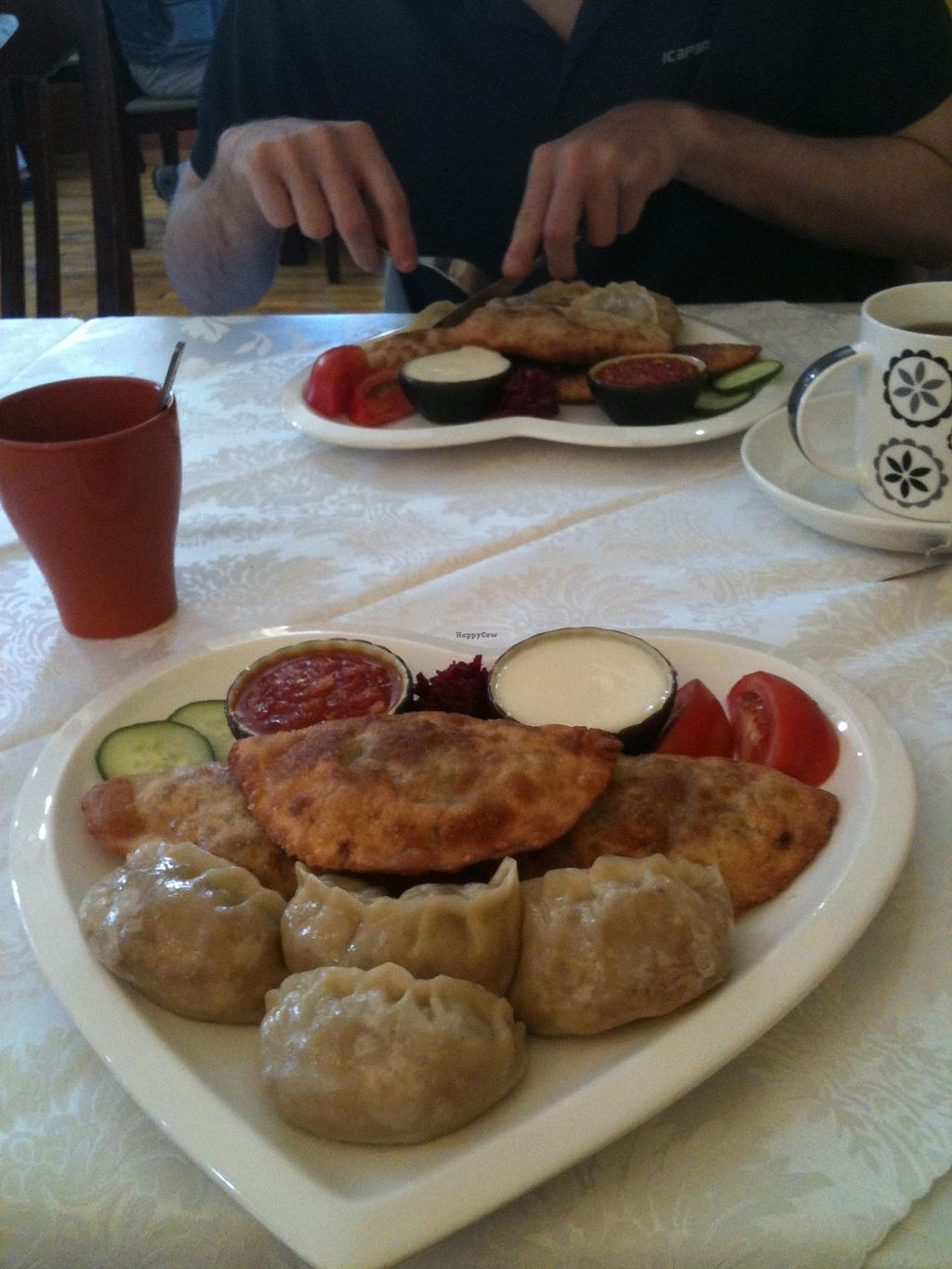 """Photo of Luna Blanca  by <a href=""""/members/profile/heloisepe"""">heloisepe</a> <br/>Delicious mongolian combo plate (10.400 T approx), with vegeterian version of the wide-spread mongolian fastfood, and dumplings <br/> June 22, 2015  - <a href='/contact/abuse/image/17018/106970'>Report</a>"""