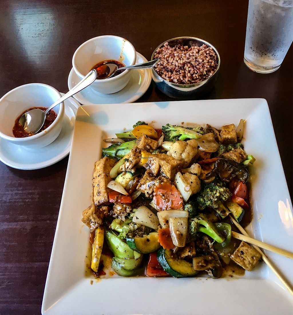"""Photo of Marco Polo Global Restaurant  by <a href=""""/members/profile/TaraSeverns"""">TaraSeverns</a> <br/>Mixed veggies + tofu in black bean sauce and two hot sauces <br/> July 19, 2017  - <a href='/contact/abuse/image/17030/282033'>Report</a>"""