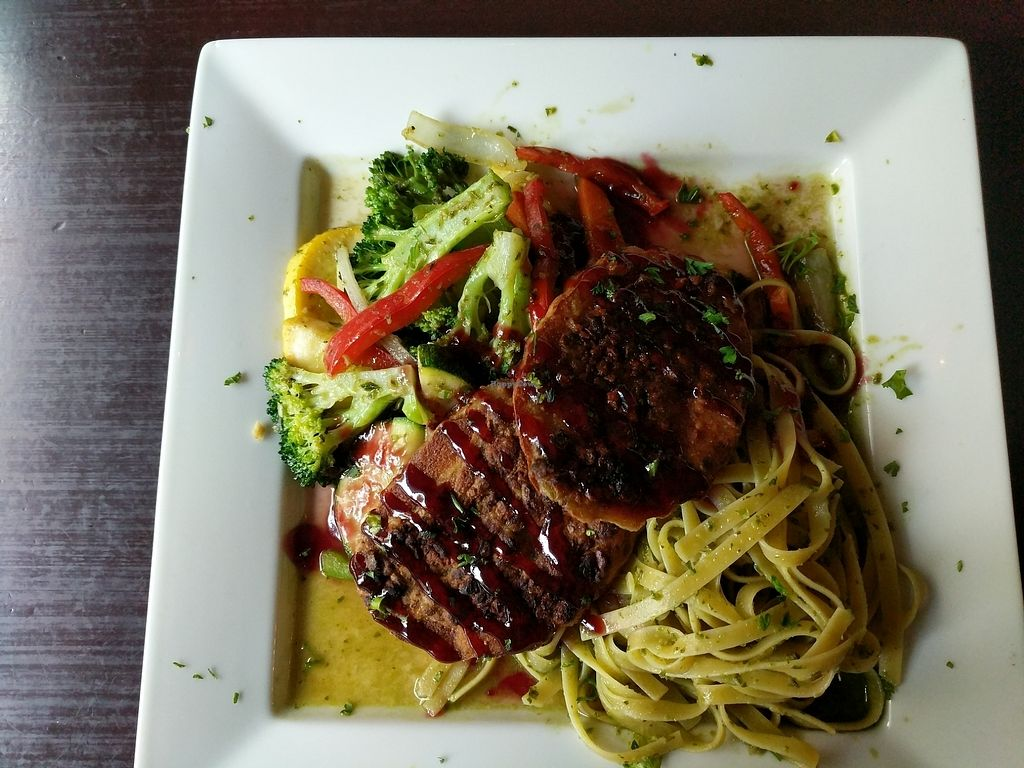 """Photo of Marco Polo Global Restaurant  by J3551684 <br/>Raspberry pistachio """"chicken"""" w/ veggies and pesto pasta <br/> August 10, 2017  - <a href='/contact/abuse/image/17030/291316'>Report</a>"""