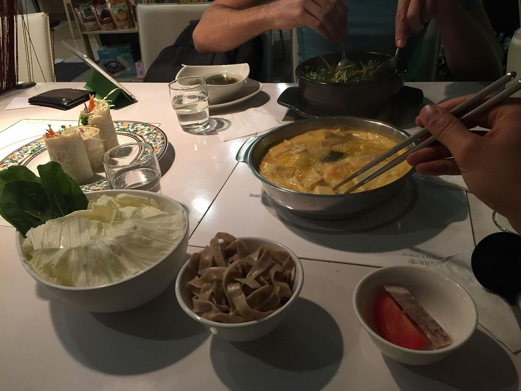 """Photo of Loving Hut - Guangfu South Rd  by <a href=""""/members/profile/MiamMiamVegan"""">MiamMiamVegan</a> <br/>Vegan Coco Pumpkin hotpot with large noodles + hummus wrap + curry bibimbap <br/> April 5, 2016  - <a href='/contact/abuse/image/17062/142917'>Report</a>"""