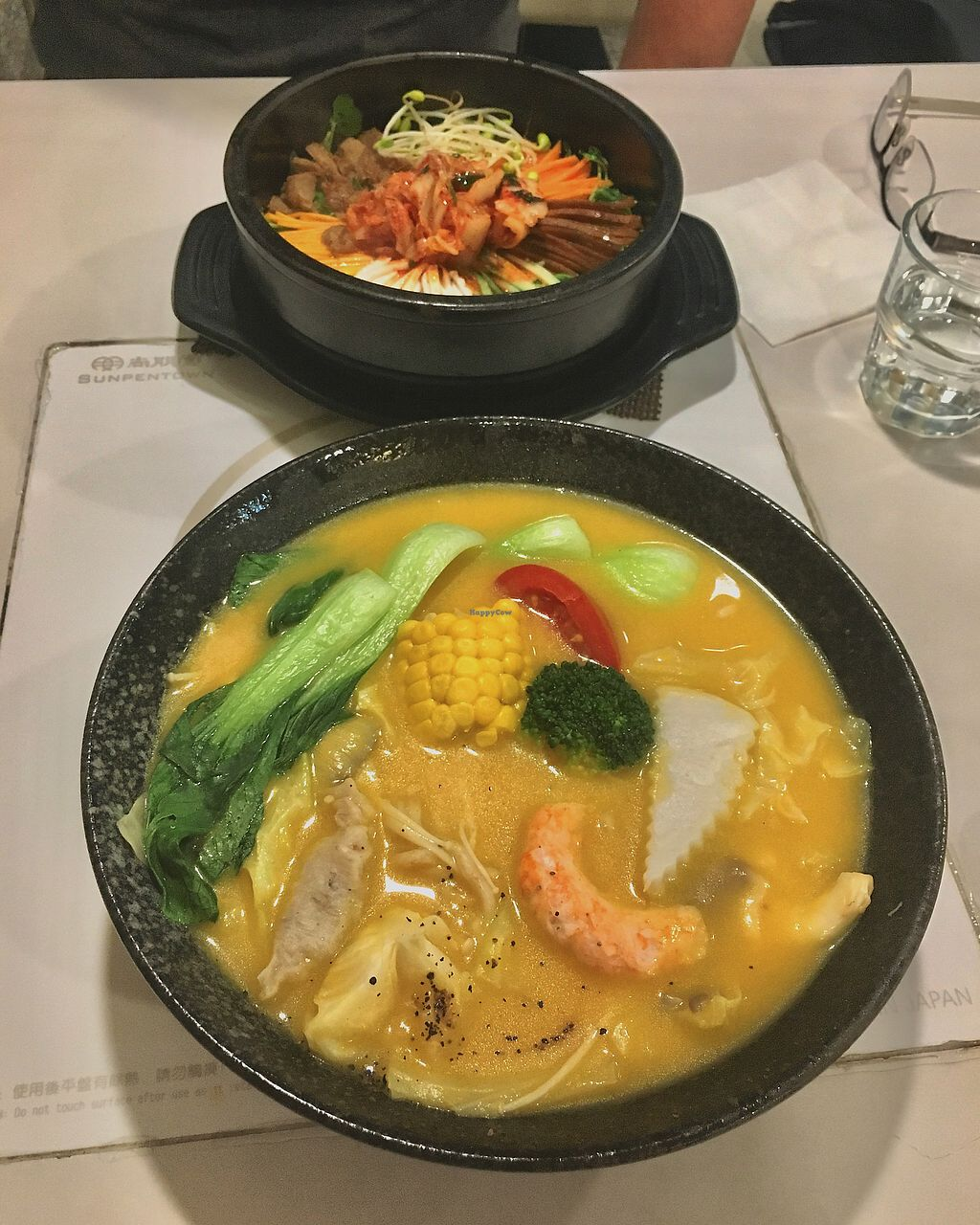 """Photo of Loving Hut - Guangfu South Rd  by <a href=""""/members/profile/CamilaSilvaL"""">CamilaSilvaL</a> <br/>Kimchi bibimbap & pumpkin curry soup  <br/> April 5, 2018  - <a href='/contact/abuse/image/17062/381192'>Report</a>"""