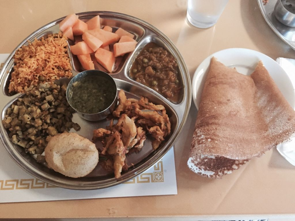 "Photo of Udipi Cafe  by <a href=""/members/profile/Dcvegan123"">Dcvegan123</a> <br/>my very hearty vegan meal from the buffet! <br/> September 3, 2015  - <a href='/contact/abuse/image/17139/116310'>Report</a>"