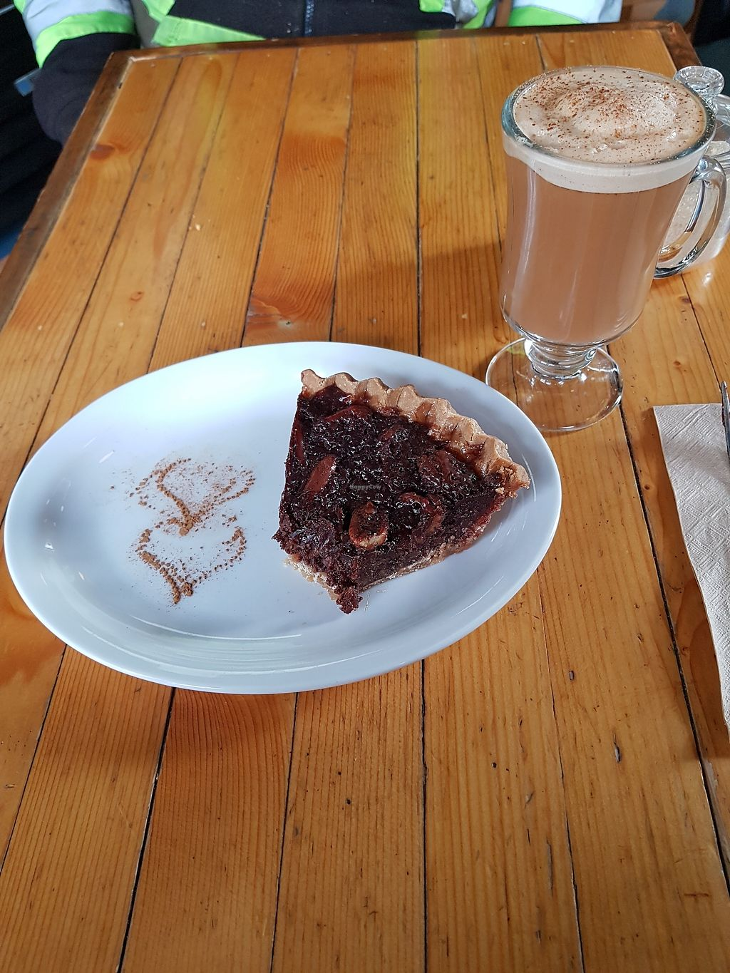 """Photo of Aphrodite Cafe and Pie Shop  by <a href=""""/members/profile/NoodleButt"""">NoodleButt</a> <br/>Vegan and gluten free chocolate pecan pie with house made chai tea with almond milk <br/> March 21, 2018  - <a href='/contact/abuse/image/17157/373535'>Report</a>"""