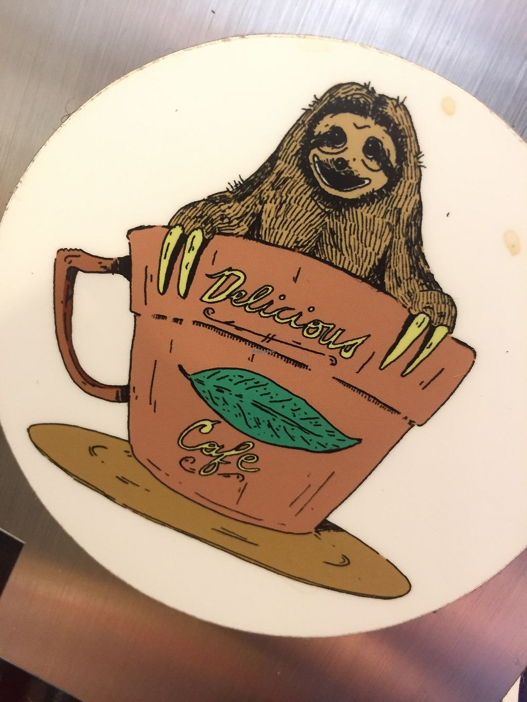 """Photo of Delicious Cafe  by <a href=""""/members/profile/happycowgirl"""">happycowgirl</a> <br/>sloth pics everywhere! it's awesome! <br/> August 4, 2017  - <a href='/contact/abuse/image/17202/288744'>Report</a>"""