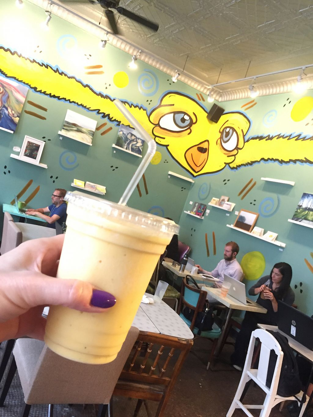 """Photo of Delicious Cafe  by <a href=""""/members/profile/happycowgirl"""">happycowgirl</a> <br/>mango colada - mango, pineapple, banana, coconut milk (vegan) <br/> August 4, 2017  - <a href='/contact/abuse/image/17202/288745'>Report</a>"""