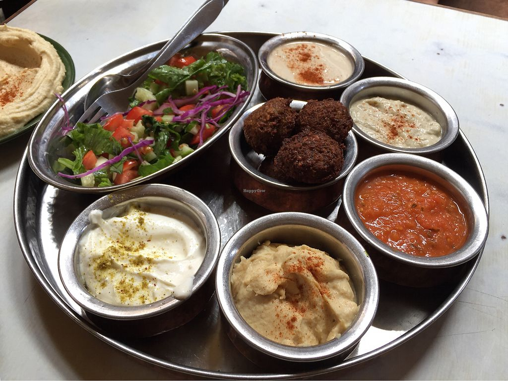 """Photo of OR2K  by <a href=""""/members/profile/010697"""">010697</a> <br/>Mezze platter: Greek salad, hummus, falafel, tzatziki, banaganoush, roasted red pepper dip; served with warm pita <br/> July 26, 2017  - <a href='/contact/abuse/image/17252/285102'>Report</a>"""