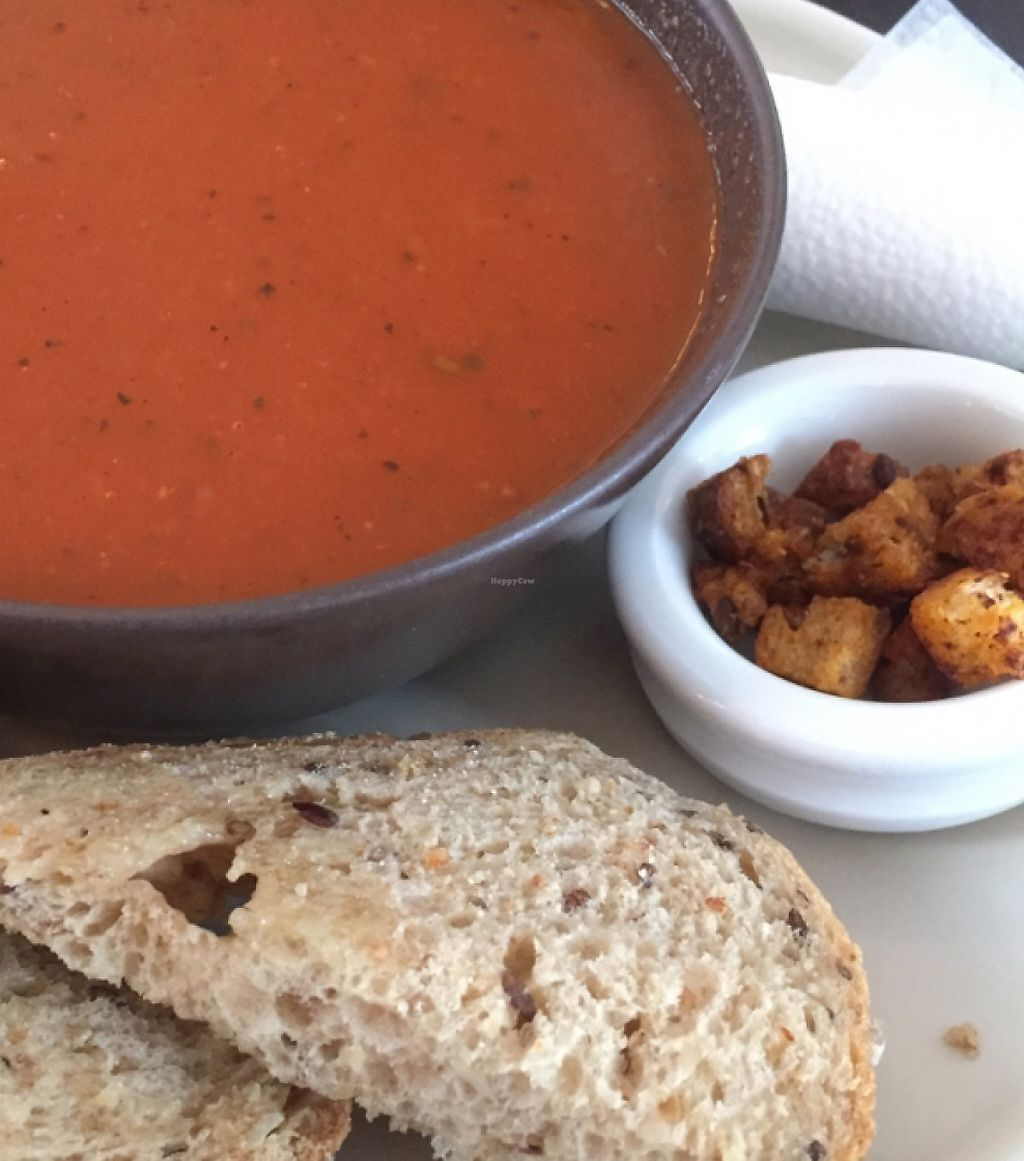 """Photo of Cafe Aura  by <a href=""""/members/profile/happycowgirl"""">happycowgirl</a> <br/>vegan tomato soup <br/> May 18, 2016  - <a href='/contact/abuse/image/17271/240505'>Report</a>"""