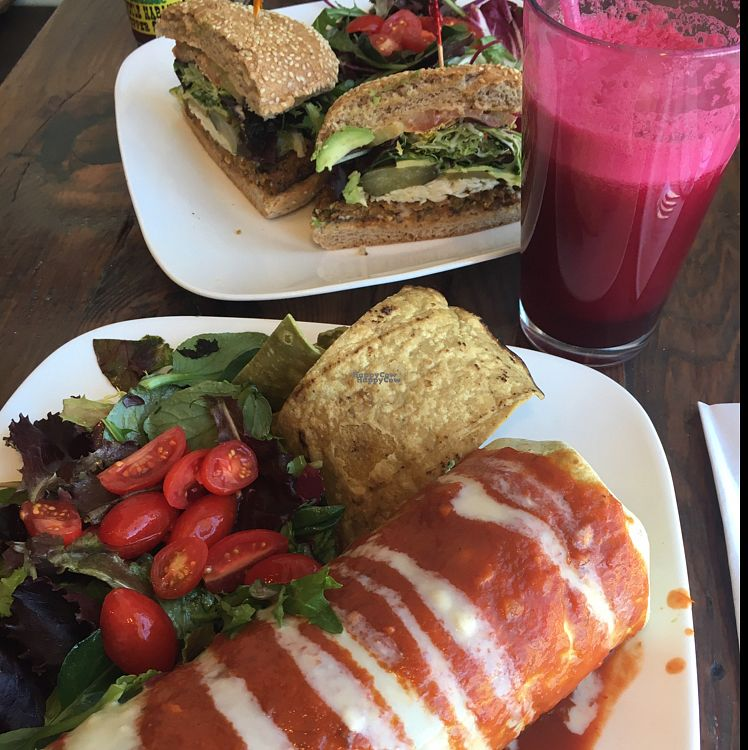 "Photo of Golden Mean Cafe  by <a href=""/members/profile/CatLovesBeets"">CatLovesBeets</a> <br/>wet burrito and build-your-own burger plus berry smoothie <br/> October 2, 2016  - <a href='/contact/abuse/image/17298/179296'>Report</a>"