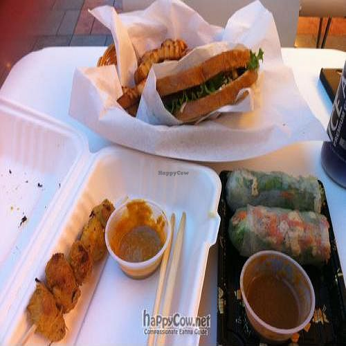 """Photo of Loving Hut - San Jose  by <a href=""""/members/profile/ktbenv"""">ktbenv</a> <br/>patty melt, 'chicken' satay, fresh summer rolls with peanut sauce <br/> February 20, 2011  - <a href='/contact/abuse/image/17309/7520'>Report</a>"""