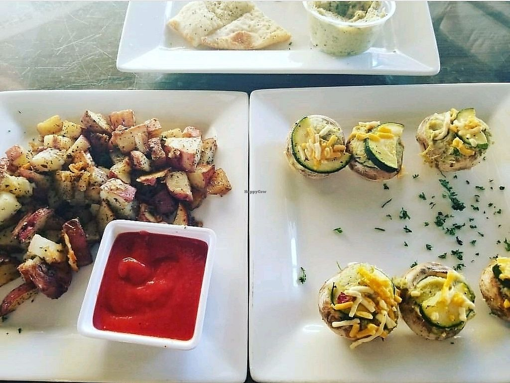 """Photo of Earth Bistro  by <a href=""""/members/profile/EvaFarias"""">EvaFarias</a> <br/>Vegan stuffed mushrooms & roasted potatoes  <br/> November 22, 2017  - <a href='/contact/abuse/image/17415/328117'>Report</a>"""