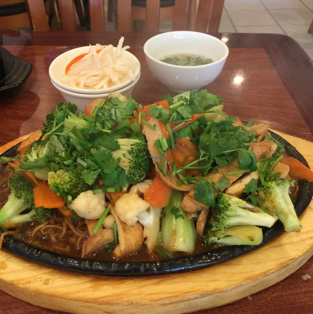 """Photo of Hoa Sen Vegetarian Restaurant  by <a href=""""/members/profile/ReneeNButtercup"""">ReneeNButtercup</a> <br/>yellow noodles with veggies and chick'n. amazing!!!!!!!!!! <br/> October 7, 2016  - <a href='/contact/abuse/image/17445/180336'>Report</a>"""