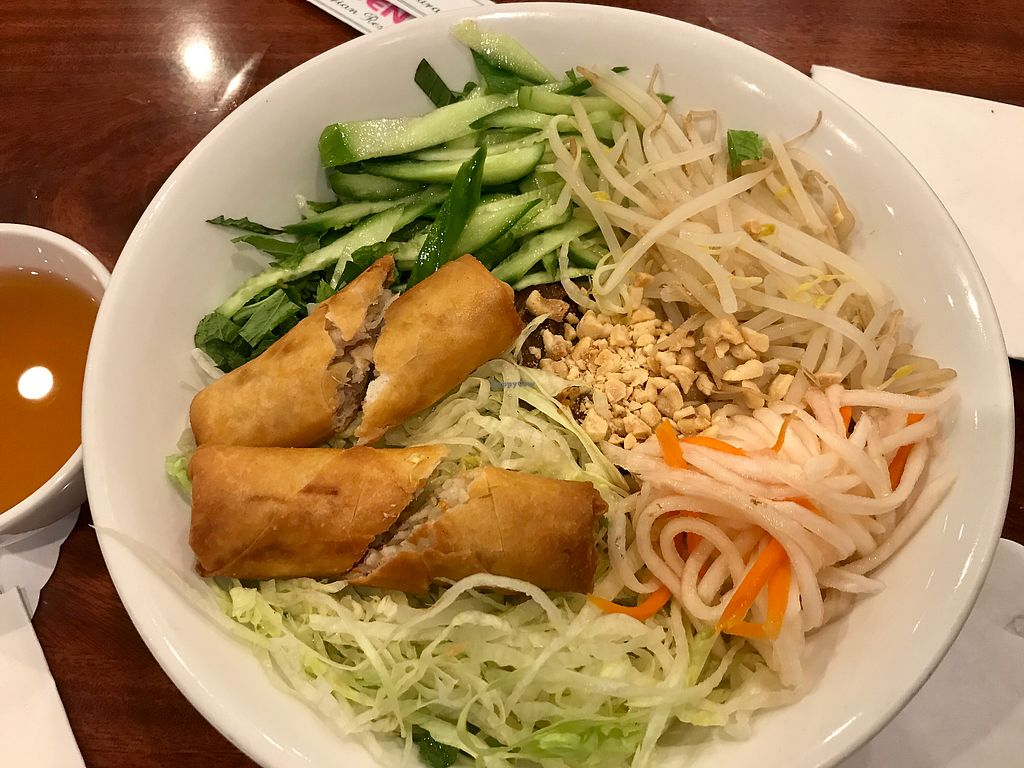 """Photo of Hoa Sen Vegetarian Restaurant  by <a href=""""/members/profile/FatTonyBMX"""">FatTonyBMX</a> <br/>Vermicelli with mock beef and egg roll. A little bland, but good and filling.  <br/> July 30, 2017  - <a href='/contact/abuse/image/17445/286816'>Report</a>"""