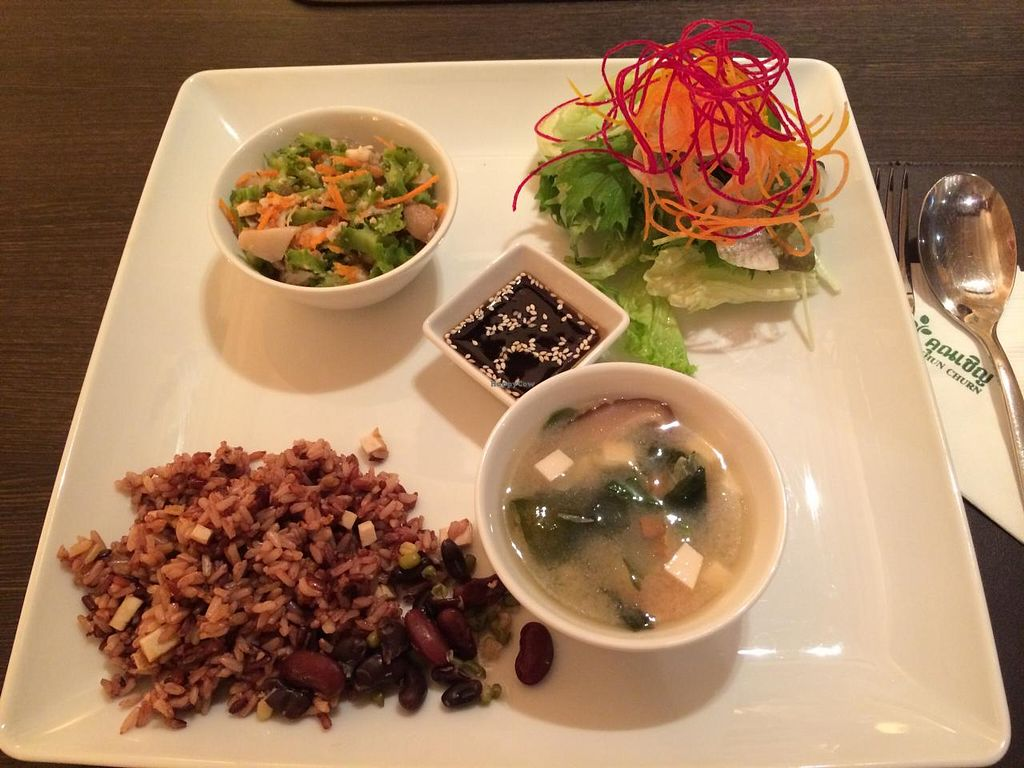 "Photo of Khun Churn - Mediplex  by <a href=""/members/profile/Plantpower"">Plantpower</a> <br/>Macrobiotic lunch menu for 150 baht <br/> March 23, 2015  - <a href='/contact/abuse/image/17488/96620'>Report</a>"