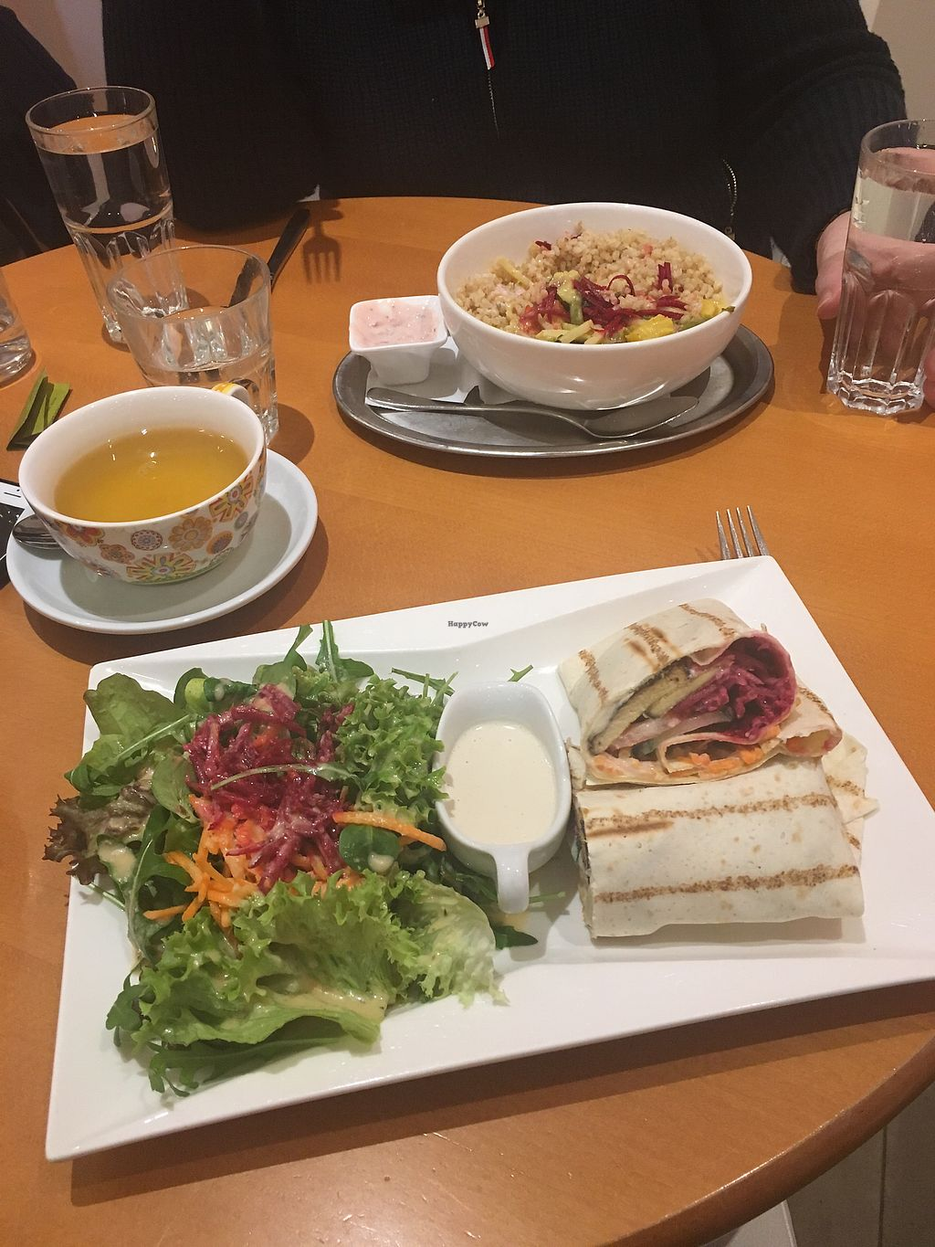 """Photo of The Heart of Joy Cafe  by <a href=""""/members/profile/RachelJenkins"""">RachelJenkins</a> <br/>Tofu tahini wrap (customised dish) and curry of the day- both vegan  <br/> January 28, 2018  - <a href='/contact/abuse/image/17506/351675'>Report</a>"""