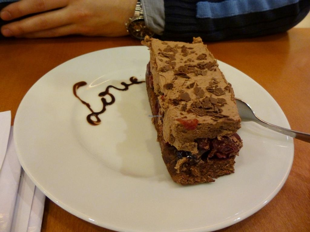 """Photo of The Heart of Joy Cafe  by <a href=""""/members/profile/Elisabeth_Vienne"""">Elisabeth_Vienne</a> <br/>Chocolate cake with cherries inside <br/> May 15, 2014  - <a href='/contact/abuse/image/17506/70056'>Report</a>"""