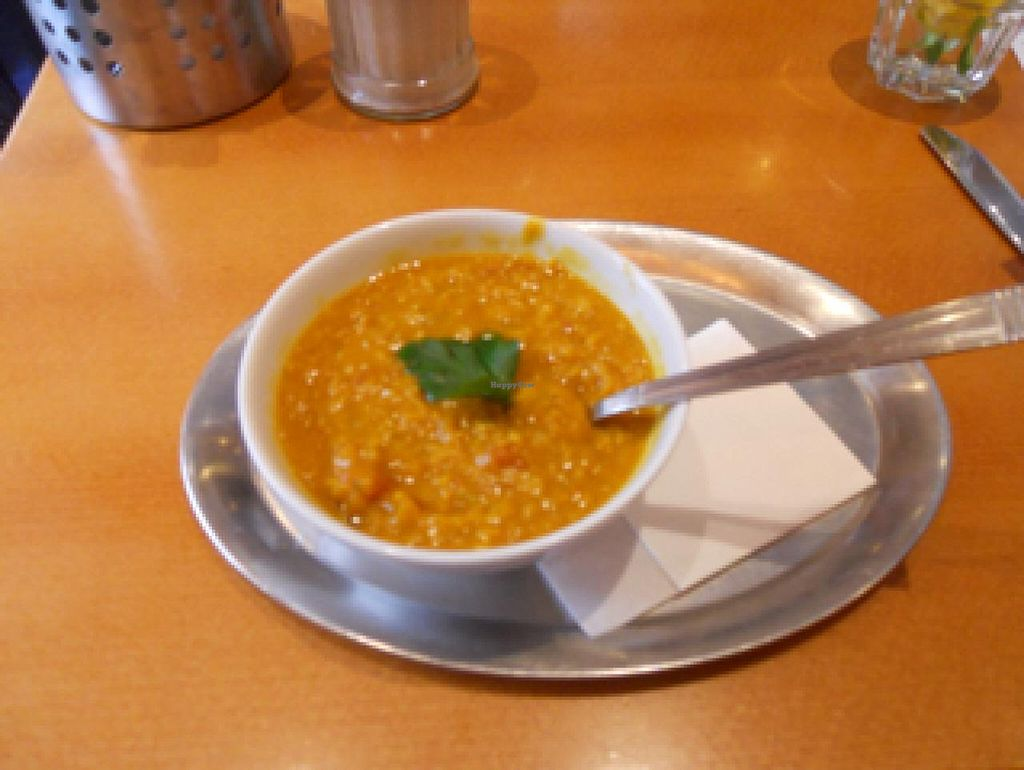 """Photo of The Heart of Joy Cafe  by <a href=""""/members/profile/Trummerflute"""">Trummerflute</a> <br/>Vegan Curry Lentil soup <br/> December 25, 2014  - <a href='/contact/abuse/image/17506/88684'>Report</a>"""