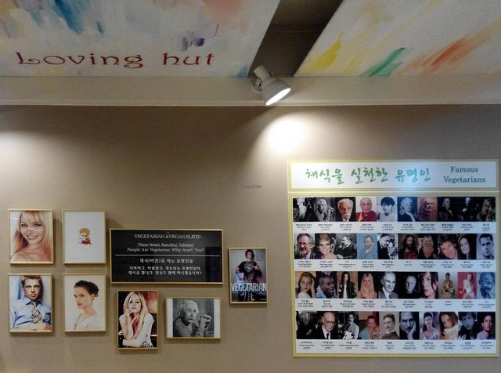 """Photo of CLOSED: Loving Hut - Yonsei University  by <a href=""""/members/profile/LaiNamKhim"""">LaiNamKhim</a> <br/>Wall of famous vegetarians <br/> September 30, 2014  - <a href='/contact/abuse/image/17566/81688'>Report</a>"""
