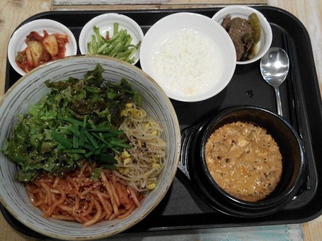 "Photo of CLOSED: Loving Hut - Yonsei University  by <a href=""/members/profile/LaiNamKhim"">LaiNamKhim</a> <br/>Bean paste tofu stew Bibimbap <br/> September 30, 2014  - <a href='/contact/abuse/image/17566/81691'>Report</a>"
