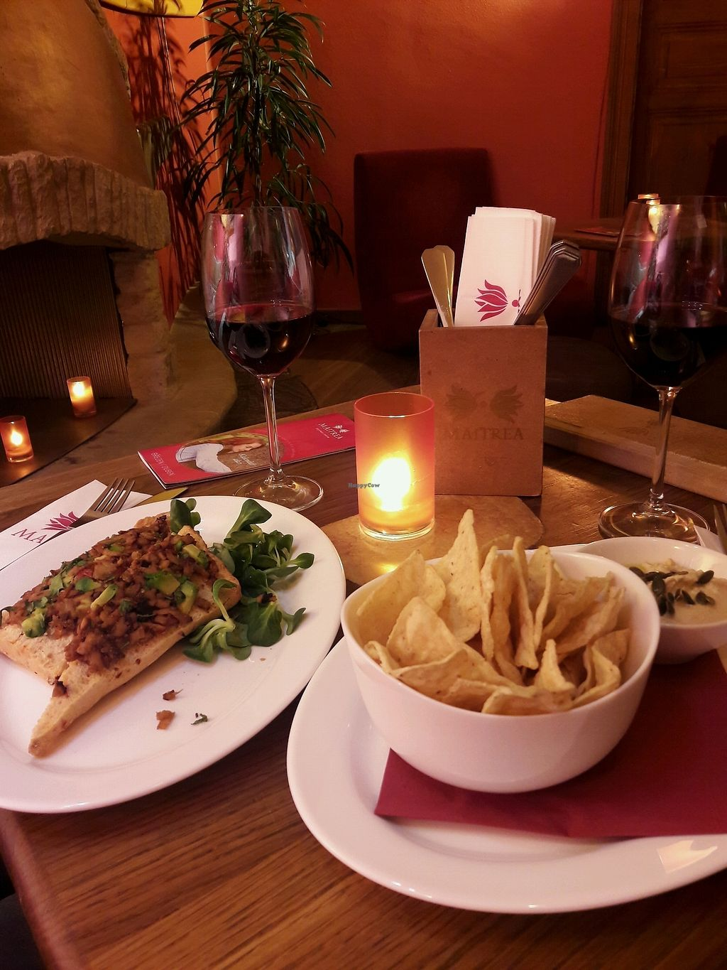 """Photo of Maitrea  by <a href=""""/members/profile/Scarify"""">Scarify</a> <br/>tempeh bruschetta and hummus with nachos <br/> March 30, 2018  - <a href='/contact/abuse/image/17585/378297'>Report</a>"""