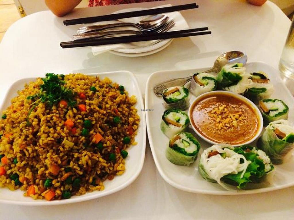 """Photo of Loving Hut - North Park Uptown  by <a href=""""/members/profile/yesenialc91"""">yesenialc91</a> <br/>guru fried rice & loving hut fresh special rolls <br/> August 29, 2014  - <a href='/contact/abuse/image/17706/78535'>Report</a>"""