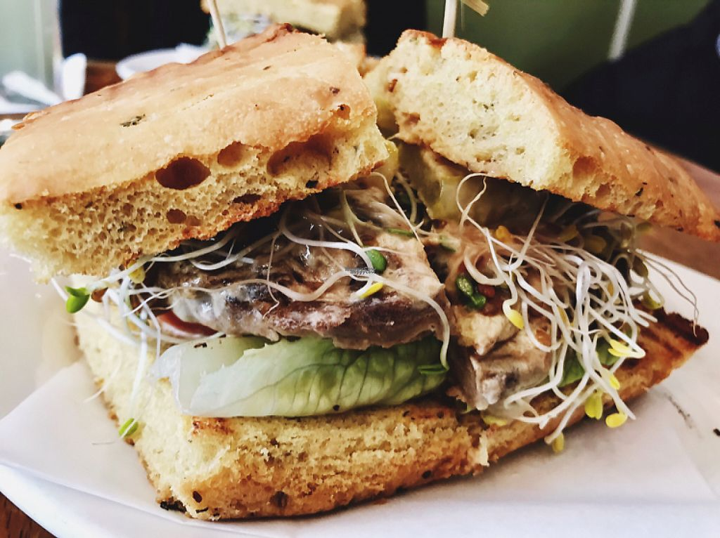 """Photo of Peacefood Cafe - Uptown  by <a href=""""/members/profile/Lenaseltzer"""">Lenaseltzer</a> <br/>Vegan Cheese Burger!  <br/> March 16, 2017  - <a href='/contact/abuse/image/17713/236970'>Report</a>"""