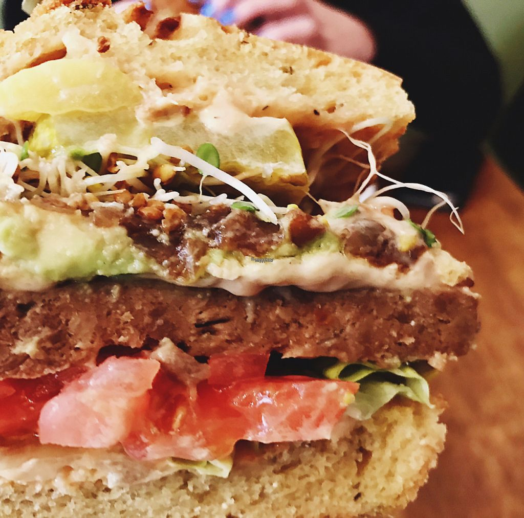 """Photo of Peacefood Cafe - Uptown  by <a href=""""/members/profile/Lenaseltzer"""">Lenaseltzer</a> <br/>Close Up of the Vegan Cheese Burger! <br/> March 16, 2017  - <a href='/contact/abuse/image/17713/236972'>Report</a>"""
