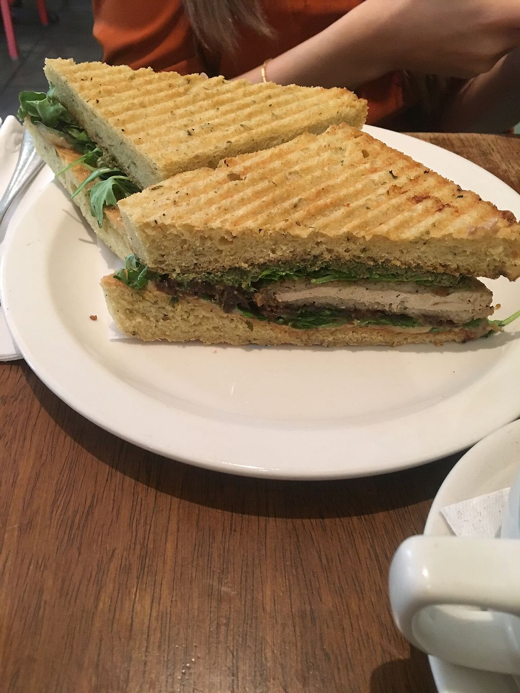 """Photo of Peacefood Cafe - Uptown  by <a href=""""/members/profile/770veg"""">770veg</a> <br/>pfc seitan medallion sandwich w/ caramelized onions! the bomb!!!  <br/> July 6, 2017  - <a href='/contact/abuse/image/17713/277255'>Report</a>"""