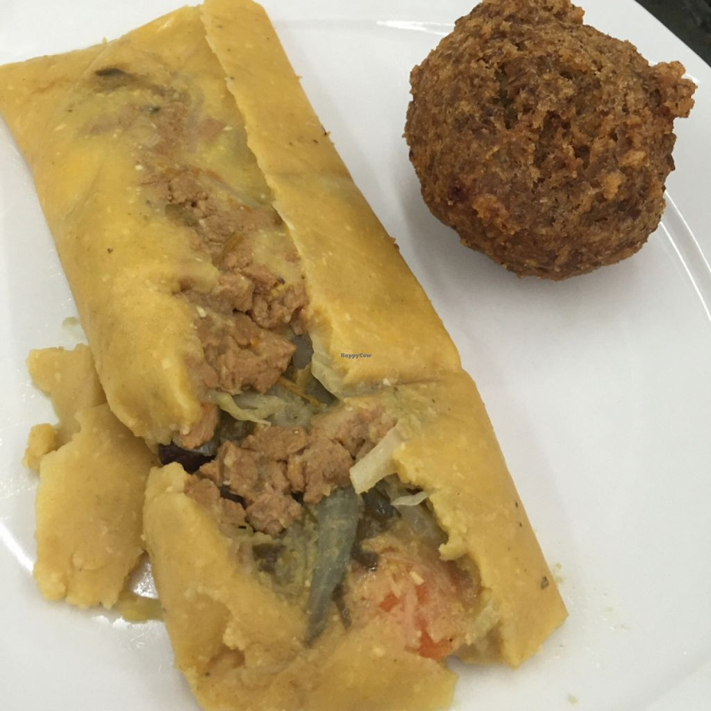 """Photo of Girasoles Restaurante Vegetariano  by <a href=""""/members/profile/chiumonster"""">chiumonster</a> <br/>Tamale & falafel <br/> May 16, 2016  - <a href='/contact/abuse/image/17721/149384'>Report</a>"""