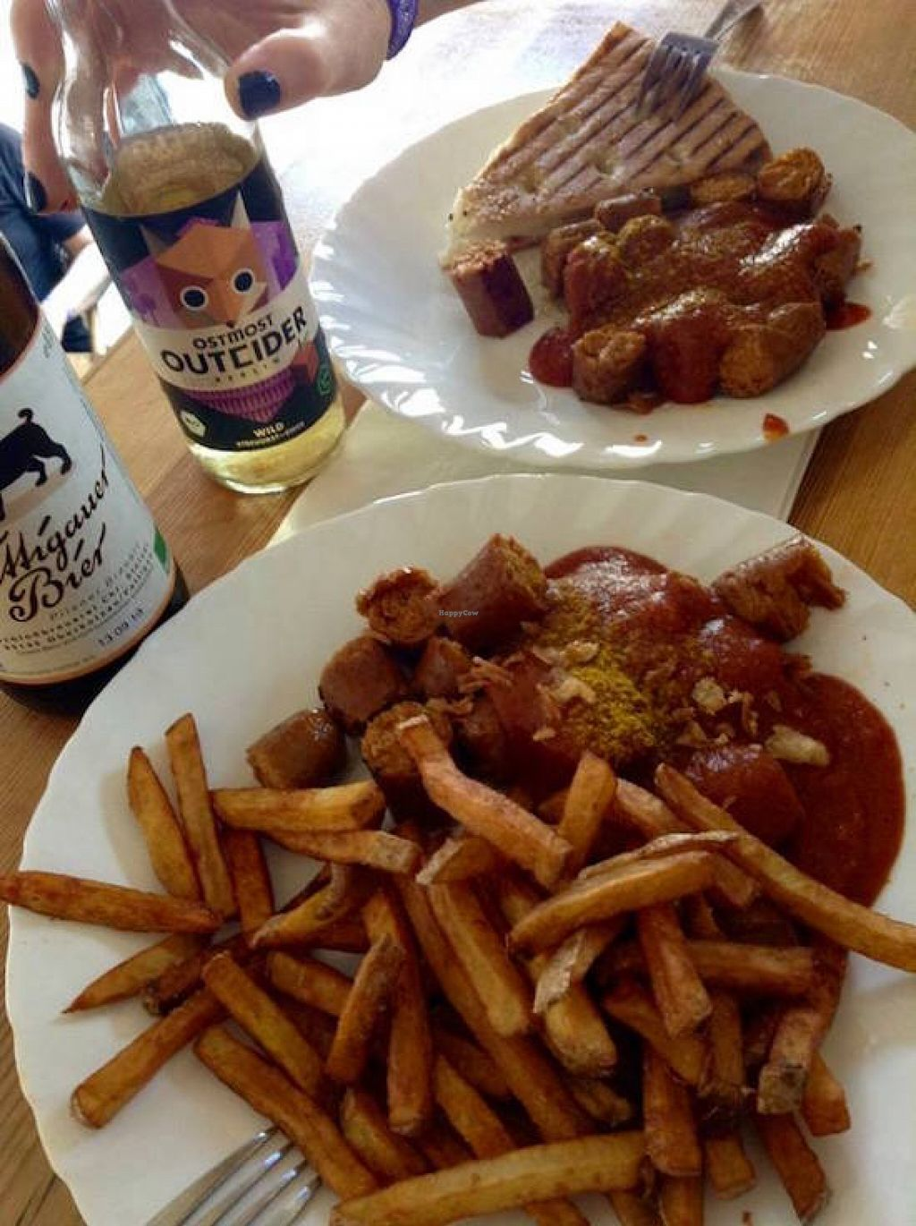 """Photo of Vleischerei  by <a href=""""/members/profile/Shel%20Graves"""">Shel Graves</a> <br/>Currywurst with bread or with chips <br/> May 22, 2016  - <a href='/contact/abuse/image/17729/150276'>Report</a>"""