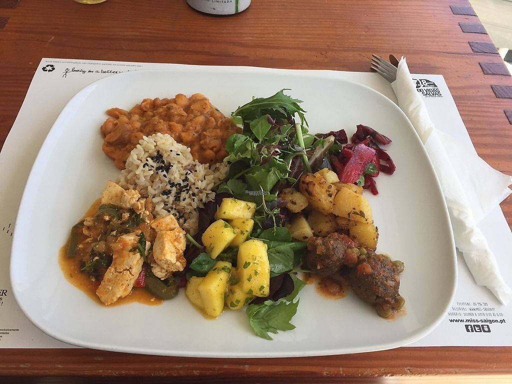 """Photo of Miss Saigon  by <a href=""""/members/profile/Kamarate"""">Kamarate</a> <br/>Platter of a soy meatballs with patatas bravas, tofu maqueca and beans and vegan sausage with rosemary (with rice and a salad) <br/> April 15, 2017  - <a href='/contact/abuse/image/17785/248304'>Report</a>"""