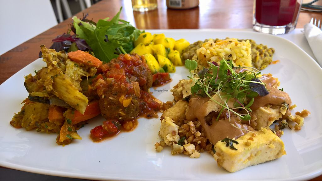 """Photo of Miss Saigon  by <a href=""""/members/profile/malwine"""">malwine</a> <br/>All main 3 dishes of the day on one plate. Rice with mango, tofu in different variations with tamarind sauce, lentils, caramelized apples and salad <br/> September 30, 2017  - <a href='/contact/abuse/image/17785/310051'>Report</a>"""