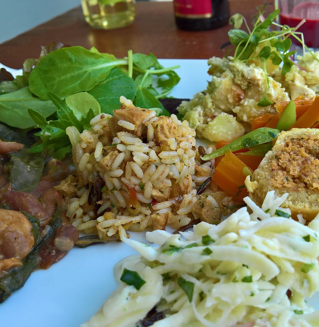 """Photo of Miss Saigon  by <a href=""""/members/profile/malwine"""">malwine</a> <br/>All main 3 dishes of the day on one plate. Rice, tofu with soy cream, salad, beans and soy roll with tender dough stuffed with tofu <br/> September 30, 2017  - <a href='/contact/abuse/image/17785/310052'>Report</a>"""