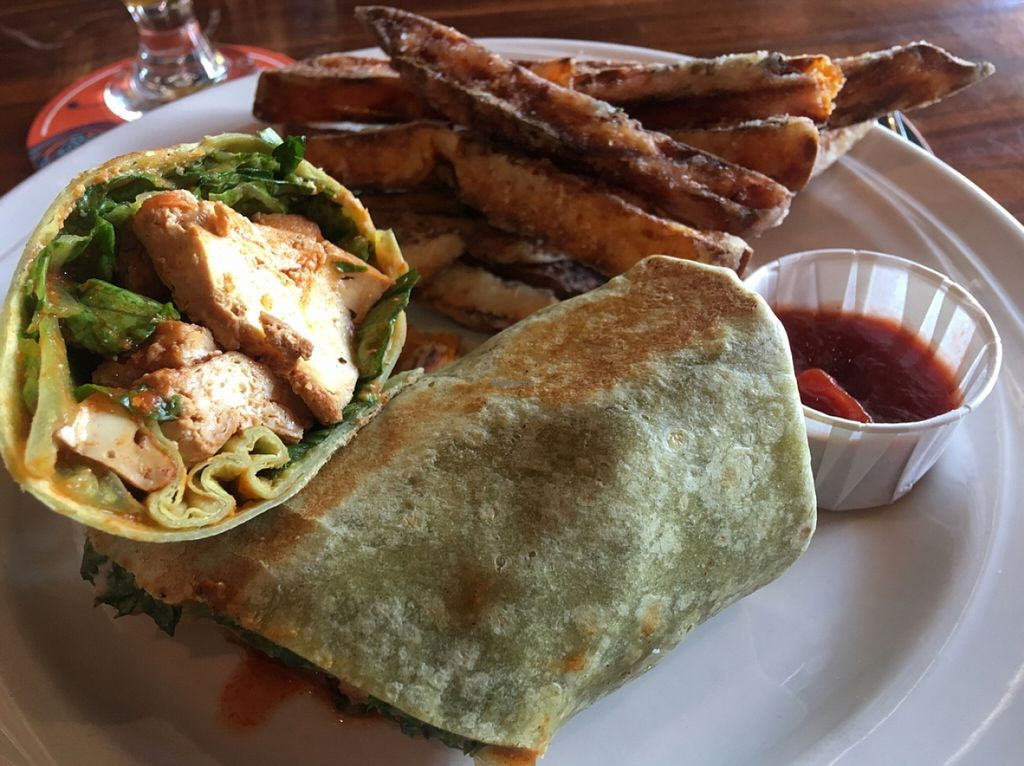 """Photo of ION - It's Only Natural Restaurant  by <a href=""""/members/profile/Stacie99"""">Stacie99</a> <br/>buffalo tofu wrap w sweet potato fries  <br/> April 20, 2016  - <a href='/contact/abuse/image/1780/145514'>Report</a>"""