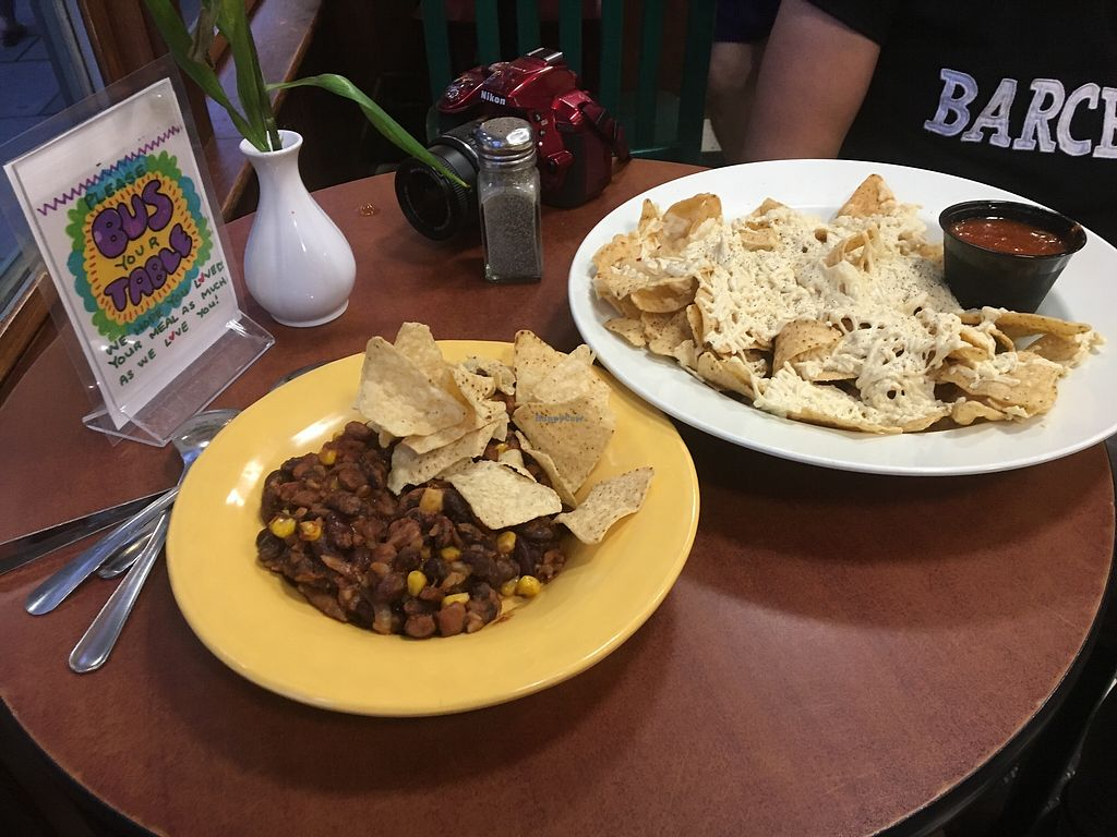 """Photo of Claire's Corner Copia  by <a href=""""/members/profile/Dancingpurplemermaid"""">Dancingpurplemermaid</a> <br/>Chili vegan and Nachos with vegan Cheese <br/> July 2, 2017  - <a href='/contact/abuse/image/1781/275792'>Report</a>"""