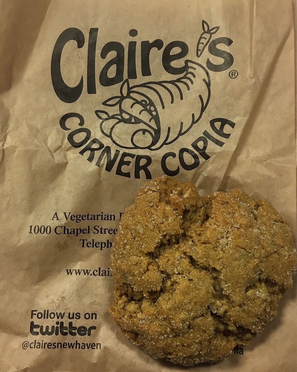 """Photo of Claire's Corner Copia  by <a href=""""/members/profile/Thepennsyltuckyvegan"""">Thepennsyltuckyvegan</a> <br/>Sunbutter Cookie <br/> January 11, 2018  - <a href='/contact/abuse/image/1781/345613'>Report</a>"""