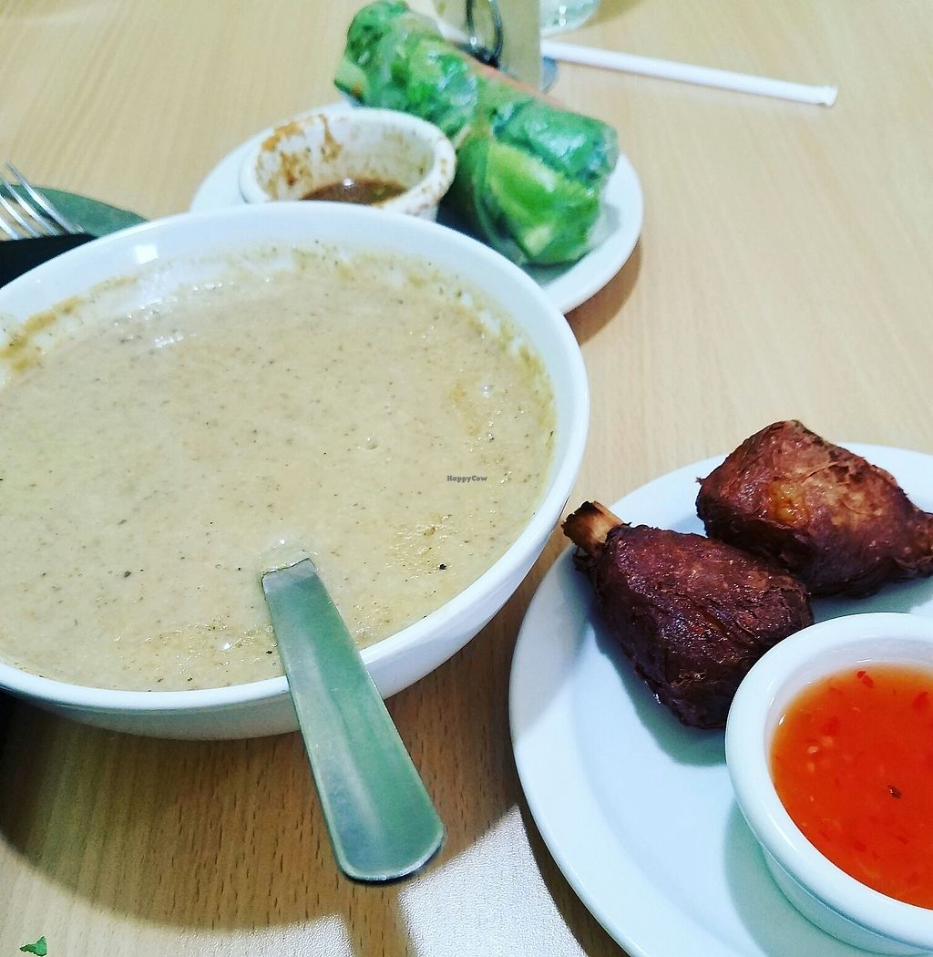 """Photo of Loving Cafe  by <a href=""""/members/profile/lyssg"""">lyssg</a> <br/>mushroom soup, spring rolls, and """"wings"""" <br/> July 12, 2017  - <a href='/contact/abuse/image/17899/279633'>Report</a>"""