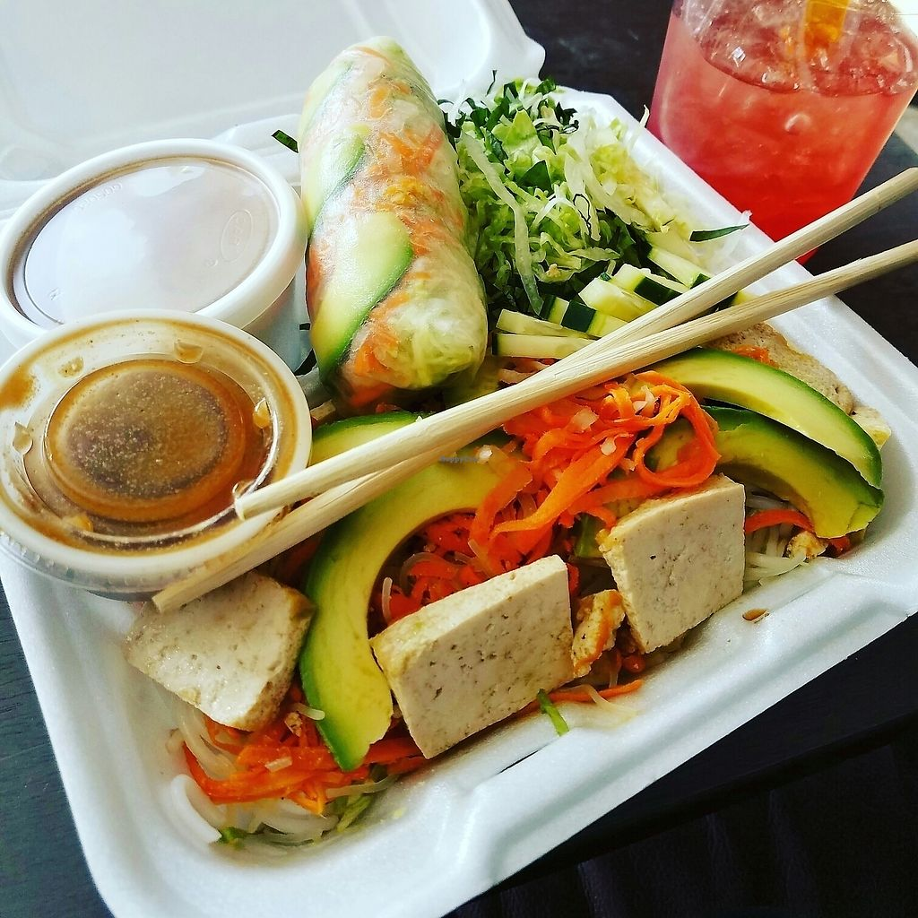 """Photo of Loving Cafe  by <a href=""""/members/profile/lyssg"""">lyssg</a> <br/>raw spring rolls and tofu salad <br/> July 12, 2017  - <a href='/contact/abuse/image/17899/279634'>Report</a>"""