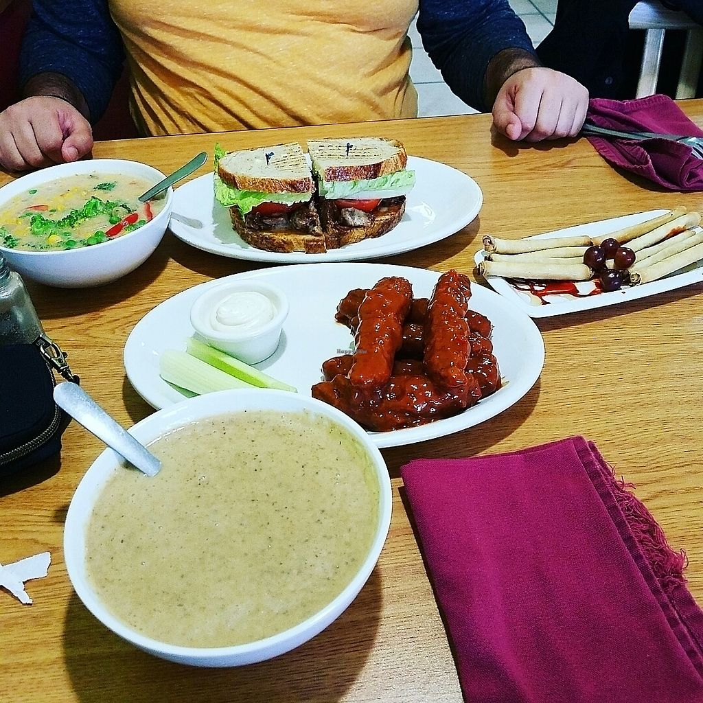 """Photo of Loving Cafe  by <a href=""""/members/profile/lyssg"""">lyssg</a> <br/>He got a burger and chowder, I got mushroom soup, lady fingers, and bbq """"rib""""  <br/> July 12, 2017  - <a href='/contact/abuse/image/17899/279636'>Report</a>"""