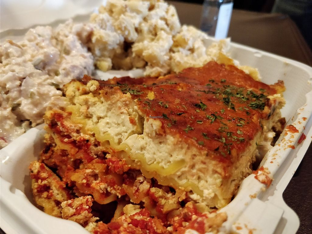 "Photo of NuVegan  by <a href=""/members/profile/einayim96"">einayim96</a> <br/>Lasagna with Chicken Salad and Mac n' Cheese <br/> April 7, 2018  - <a href='/contact/abuse/image/1790/381754'>Report</a>"