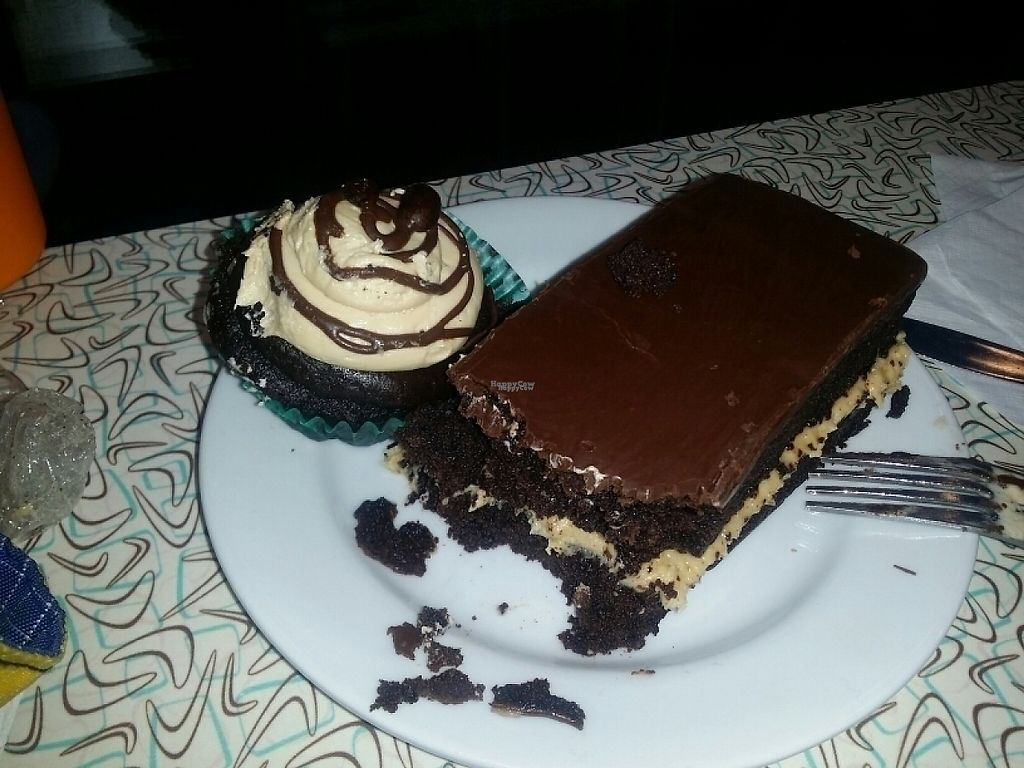 """Photo of Sticky Fingers Bakery  by <a href=""""/members/profile/zenmaestro"""">zenmaestro</a> <br/>chocolate mocha cupcake and silly bonez -chocolate cake with creamy peanut buttery center. both gluten free <br/> April 9, 2017  - <a href='/contact/abuse/image/1792/245958'>Report</a>"""