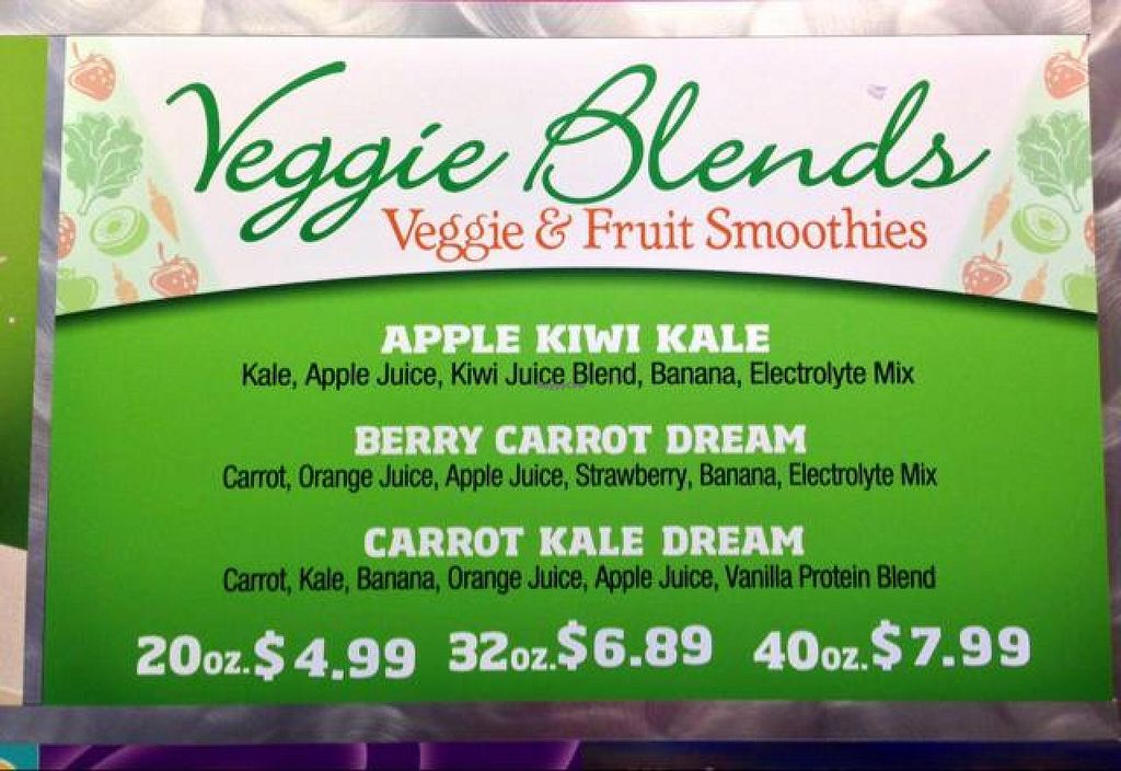 """Photo of Smoothie King  by <a href=""""/members/profile/happycowgirl"""">happycowgirl</a> <br/>this is a sampling of the vegan smoothies <br/> May 15, 2014  - <a href='/contact/abuse/image/17978/70040'>Report</a>"""