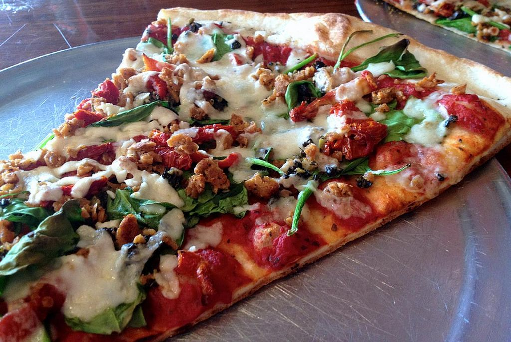 Photo of Classic Slice Pizza  by RamblingVegans <br/>Mediterranean pizza slice <br/> February 27, 2014  - <a href='/contact/abuse/image/18000/64927'>Report</a>