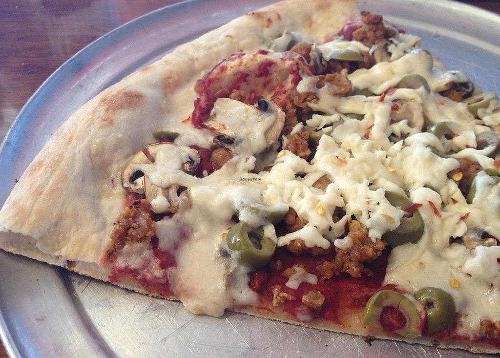 Photo of Classic Slice Pizza  by RamblingVegans <br/>Build your own pizza slice with vegan sausage, vegan cheese and veggies <br/> February 27, 2014  - <a href='/contact/abuse/image/18000/64931'>Report</a>