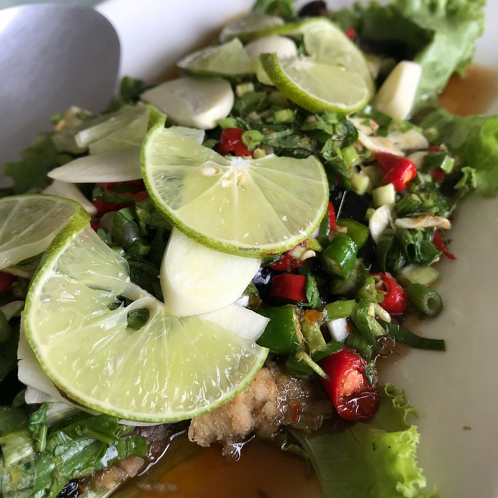 """Photo of Loving Hut - Bang Kholaem  by <a href=""""/members/profile/VanessaWinkler"""">VanessaWinkler</a> <br/>Vish with lime, herbs and chili  <br/> February 27, 2018  - <a href='/contact/abuse/image/18022/364610'>Report</a>"""