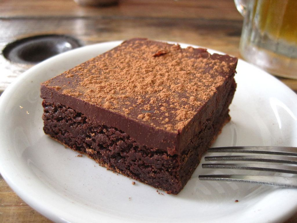 """Photo of Panthere Verte - Mile End  by <a href=""""/members/profile/Babette"""">Babette</a> <br/>Double Trouble.  This brownie with chocolate ganache is to die for. It's probably the best vegan brownie in Montreal. It tastes a bit like fudge <br/> July 22, 2016  - <a href='/contact/abuse/image/18035/161575'>Report</a>"""