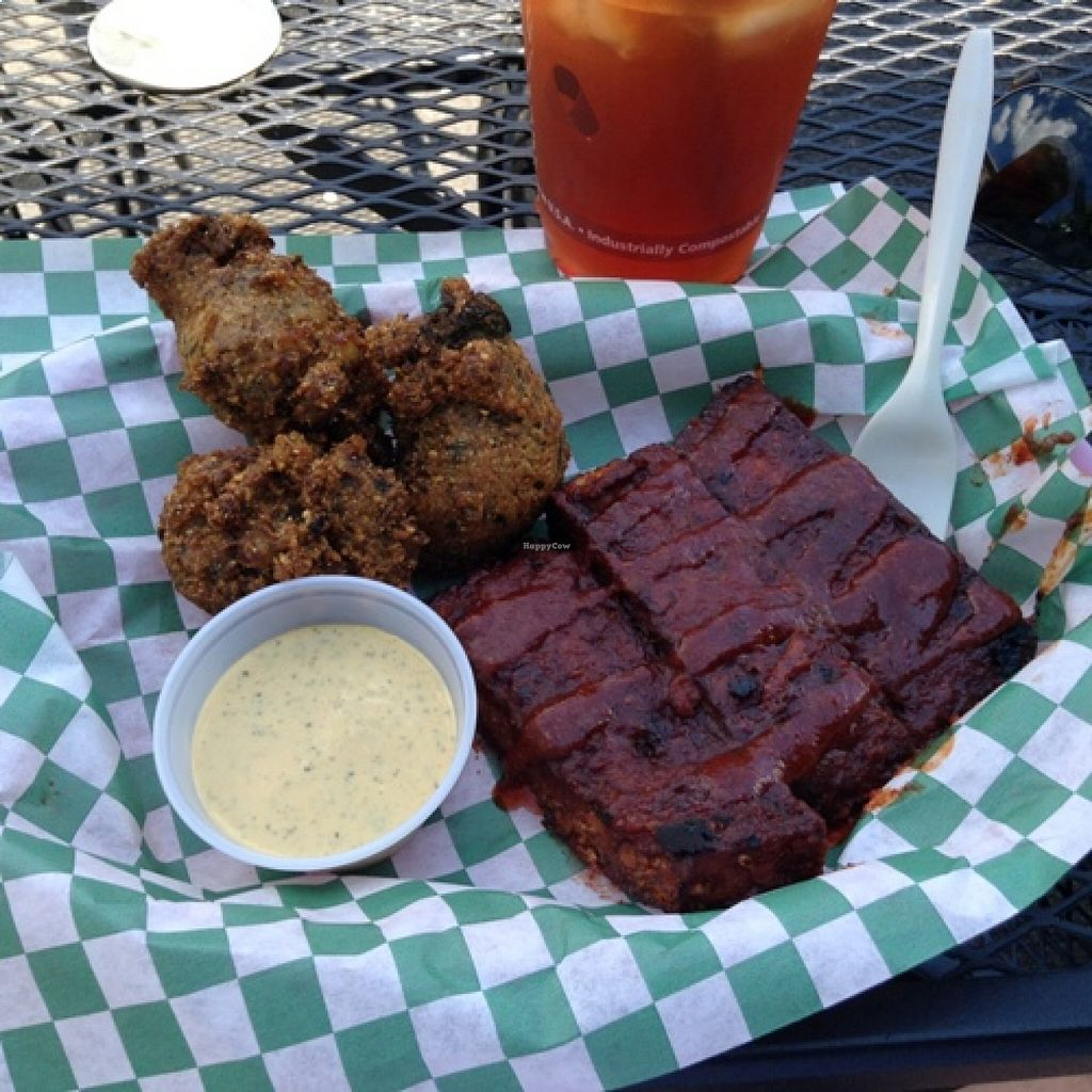 "Photo of CLOSED: Homegrown Smoker Vegan Barbecue - Food Cart  by <a href=""/members/profile/Julie%20R"">Julie R</a> <br/>Vegan ribs and HUSH PUPPIES! <br/> August 19, 2015  - <a href='/contact/abuse/image/18080/114235'>Report</a>"