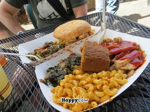 "Photo of CLOSED: Homegrown Smoker Vegan Barbecue - Food Cart  by <a href=""/members/profile/Tracy737"">Tracy737</a> <br/>Best vegan mac and cheese ever!  With greens, unchicken sandwich, soy curls <br/> August 4, 2013  - <a href='/contact/abuse/image/18080/52718'>Report</a>"