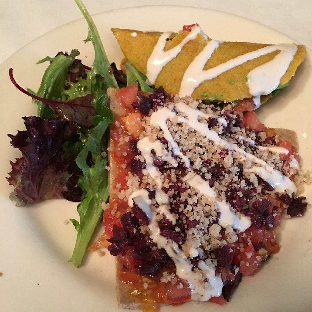 """Photo of Pena Pachamama  by <a href=""""/members/profile/vegancheeks"""">vegancheeks</a> <br/>raw pizza and corn taco combo for lunch. $17.95 <br/> December 15, 2016  - <a href='/contact/abuse/image/18085/201136'>Report</a>"""