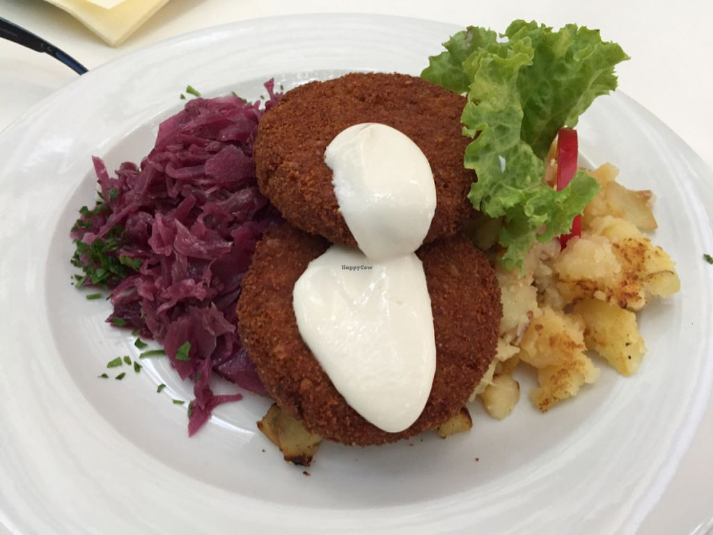 """Photo of Napfenyes Restaurant and Pastry Shop  by <a href=""""/members/profile/phillygirl79"""">phillygirl79</a> <br/>Oat fritters with cabbage and mashed potatoes <br/> July 8, 2016  - <a href='/contact/abuse/image/18107/158500'>Report</a>"""